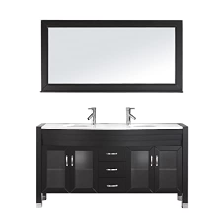 Virtu USA MD-499-S-ES Modern 63-Inch Double Sink Bathroom Vanity Set with Polished Chrome Faucet, Espresso