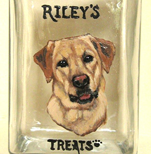 Personalized Dog Treat Jar, Custom Canister, Dog Biscuit Container, Yellow Labrador Retriever (Personalized Dog Treat Jar compare prices)