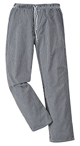 Portwest C079CKRM Pantaloni Bromley da Chef, Bianco/Nero, Medium