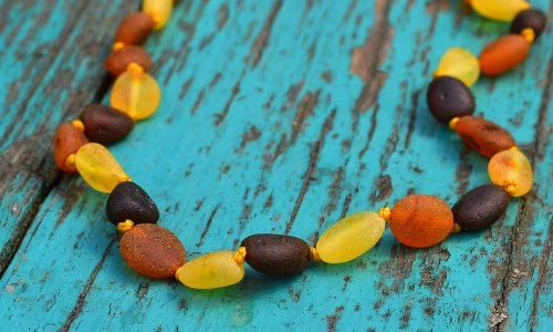 Raw Baltic Amber Teething Necklace for Baby - Maximum Pain Relief - Beans Shape - 1