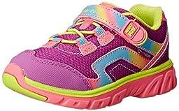 Stride Rite Made 2 Play Myra Sneaker (Toddler/Little Kid),Pink/Lime,2 W US Little Kid