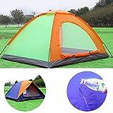 Tente coupole pour 3-4 personnes Tente igloo Vert/Orange double toit camping trekking