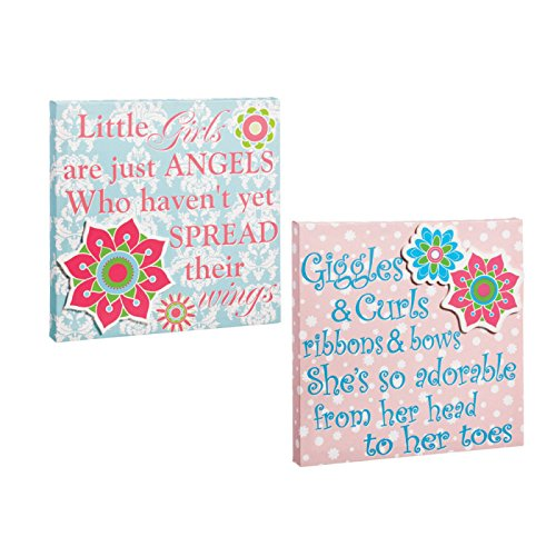 Pink And Blue Flowers 12X12 Stretched Wall Canvas Set of 2