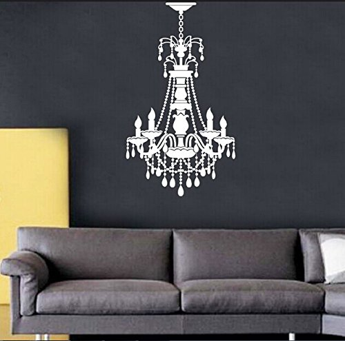 """Colorfulhall 27.55"""" X 14.96"""" White Color Chandelier And Droplight Living Room Wall Art Decal Stickers front-331754"""