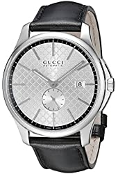 Gucci Men's YA126313 G-Timeless Collection Stainless Steel Automatic Watch with Black Leather Band