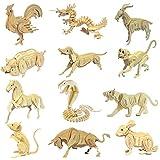 HuntGold Rompecabezas de madera 3D Puzzle chino Animal 12 Zodiac Modelo Intelectual juguete Hot regalo(vaca)