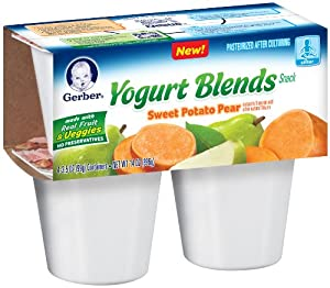 Gerber Yogurt Blends Snack, Sweet Potato Pear, 4 Count (Pack of 6)