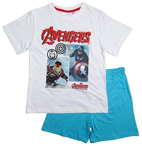 The Avengers Schlafanzug Kollektion 2016 Shorty 104 110 116 122 128 134 140 146 152 Jungen Shortie Pyjama Neu Marvel Weiß-Blau (140 - 146, Weiß-Blau)