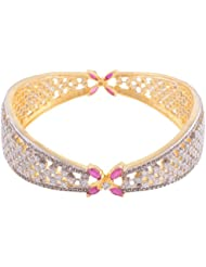 Gold Plated Traditional Bollywood Bridal Red Ad Cz Bangles Bracelet Set For Women (paki-011)