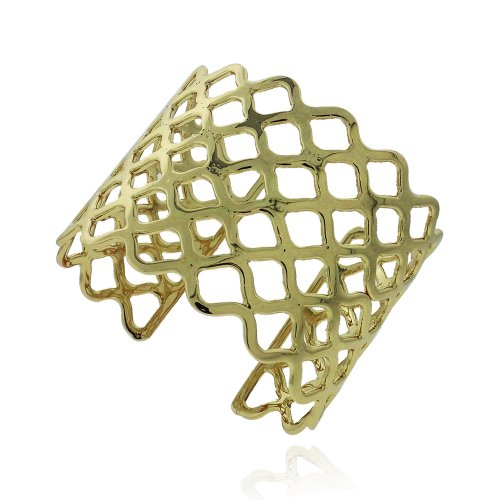 18K Gold Plated Weave Wide Cuff Bangle Bracelet