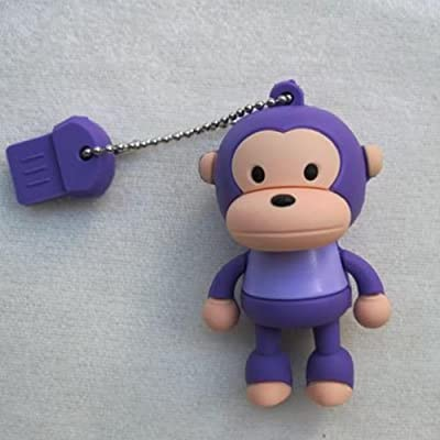 4GB Baby Monkey Purple USB 2.0 High Speed Silicon Flash Memory Drive Disk Stick Pen Support Windows and MacOS Great Gift from EASYWORLD