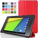 MoKo Google New Nexus 7 FHD 2nd Gen Case - Ultra Slim Lightweight Smart-shell Stand Case for Google Nexus 2 7.0 Inch 2013 Generation Android 4.3 Tablet, RED (With Smart Cover Auto Wake / Sleep Feature)