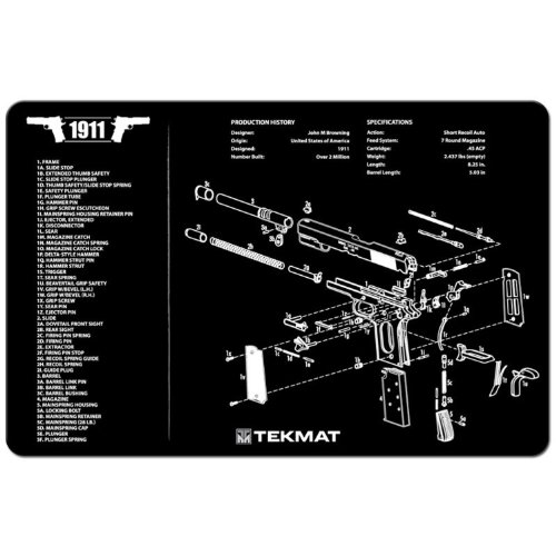 Sale!! TekMat 11-Inch X 17-Inch Handgun Cleaning Mat with 1911 Imprint, Black