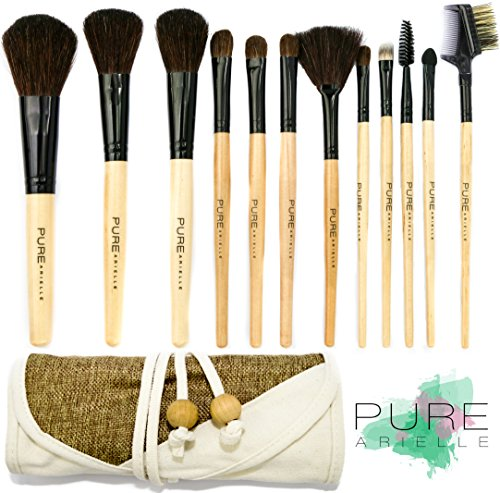 Pure Arielle 12 Piece All Natural Makeup Brush Set - Bamboo Handle Pcs - Stylish Make up Brushes Set Includes Free Cloth Organizer Case / Bag (12 Piece Make Up Brush Set compare prices)