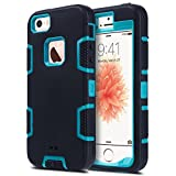 iPhone 5S Case, iPhone 5 Case,iPhone SE Case, ULAK 3in1 Shockproof Combo Hybrid Hard Rigid PC + Soft Silicone Protective Case Cover for Apple iPhone 5 5S SE (Blue/Black)