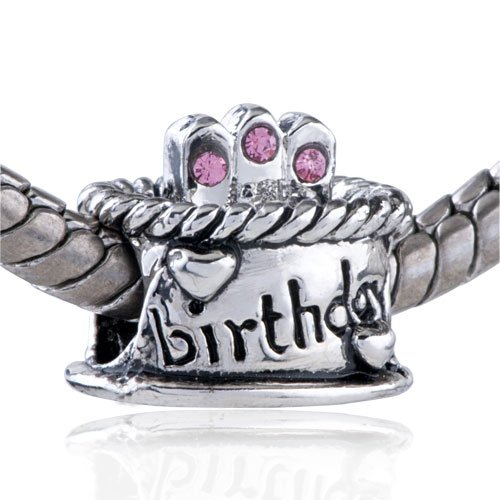 Bling Pandora Style Bead Charm Pink Crystal Birthday Cake European Beads