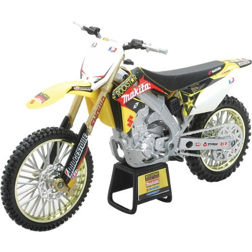 New Ray Suzuki Rockstar 2008 RM-Z450 3 Rider Team Replica Motorcycle Toy w/ Free B&F Heart Sticker Bundle - Yellow/Race Team Graphics / 1:12 Scale