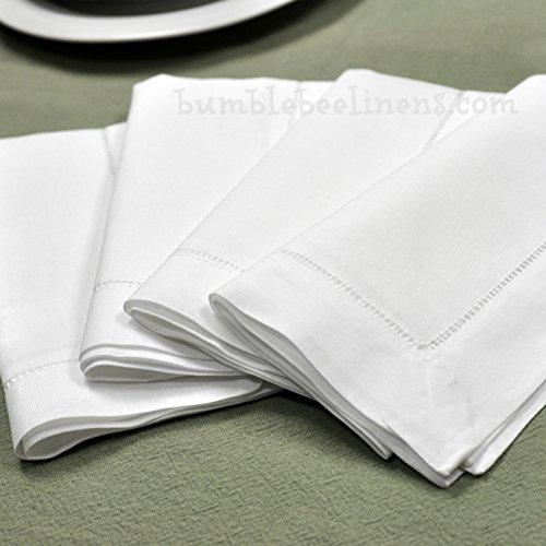 "White Linen Hemstitched Dinner Napkins- Set of 4 18"" X 18"" Ladder Hem Stitch Cloth Napkin"