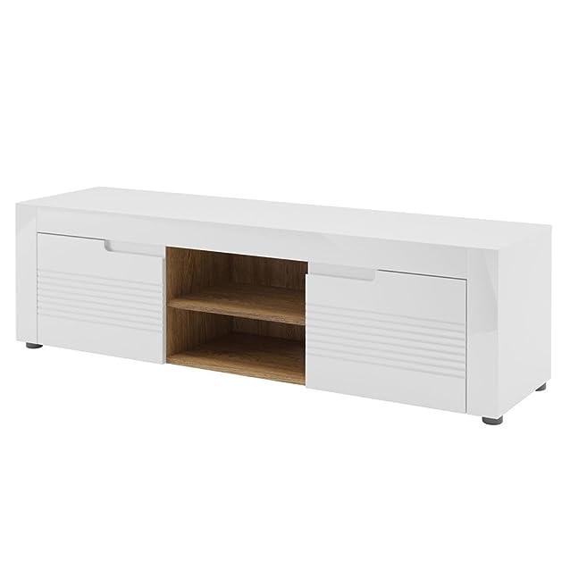 Porta tv funzionale 2 ante bianco e tinta noce walnut cmL150xH44xP41 Belis 25
