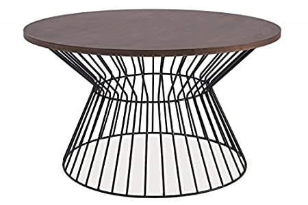 Couchtisch Beistelltisch 'Steel II' Holztisch Walnuss Wohnzimmertisch Metall Schwarz 82x82cm