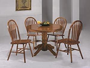 5PC 42 Round Oak Dining Table And Chairs Set Table
