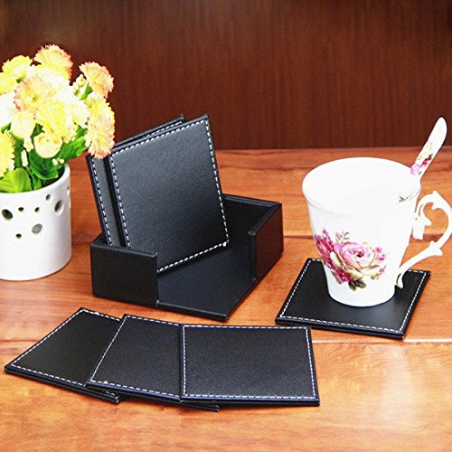 6PCS Double Deck Leather Coasters Placemat PU Black Cup Mat