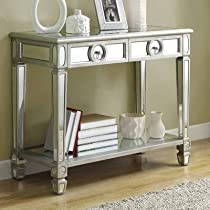 Big Sale Monarch Specialties Length Sofa Console Table with 2-Drawer, 38-Inch, Mirrored