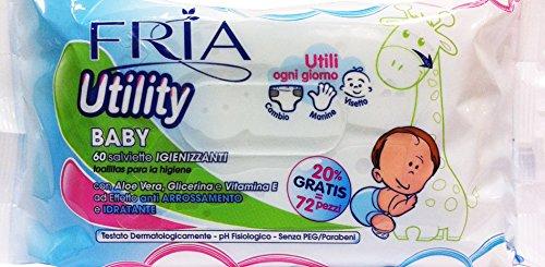 12 x FRIA Salviettine Baby Utility Igienizzanti Del&Deter.60+12Pz