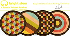 Bright Stem Patches 4 Sew On Cloth Badges Accessories Retro Designs