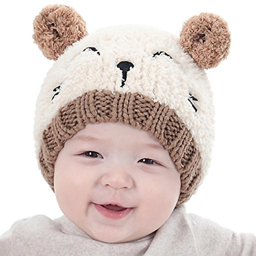 Gotd Baby Girls Boys Kids Toddler Knit Cap Warm Earflap Hat (Beige)