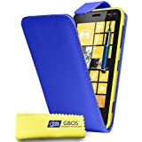 Gbos - Nokia Lumia 520 Blue Leather Flip Case Cover Pouch + Free Screen Protector & Retractable Touch Stylus Pen Blue