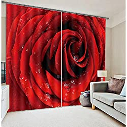 "Alicemall Romantic Dewy Red Rose 3D Blackout Curtain Statement Flower Print Window Drapes For Home Decor, 2 Panels (80""W x 84""L--11435119)"