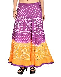 Aura Life Style Women's Cotton Bandhej Skirt (ALSK3024B, Multi , Free Size)