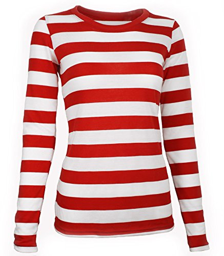 Adult Women's Long Sleeve Striped Shirt Red / White (X-Large)