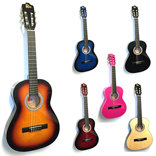 rio-3-4-size-sunburst-classical-guitar-pack-for-kids-beginners-suit-9-to-12-years-inc-bag-strap-pick