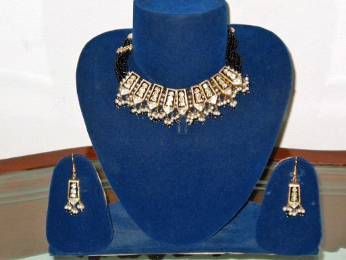 Handmade Jewelry Set Black Meenakari Necklace with Earrings - Lacquer with Cut Glass