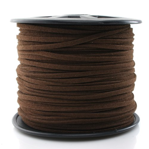 Read About Beadnova Medium Brown Color 3mm Flat Leather Lace Beading Thread Faux Suede Cord String V...