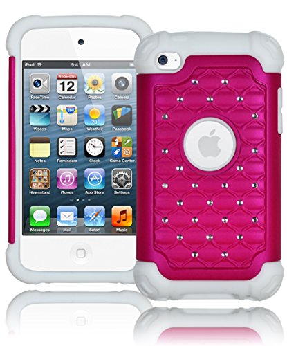 Bastex Heavy Duty Snap On Hot Pink Bling Case Cover For Apple Ipod Touch 4 - Hot Pink Diamond With White Silicone front-954326