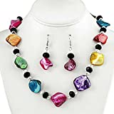 Multi Colored Shell and Crystal Necklace and Earrings Set