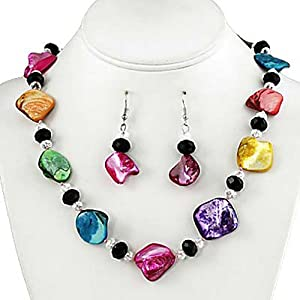 Multi Colored Faux Shell and Crystal Necklace and Earrings Set