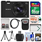 Sony Cyber-Shot DSC-WX350 Digital Camera (Black) with 16GB Card + Case + Battery + Tripod + HDMI Cable + Accessory Kit
