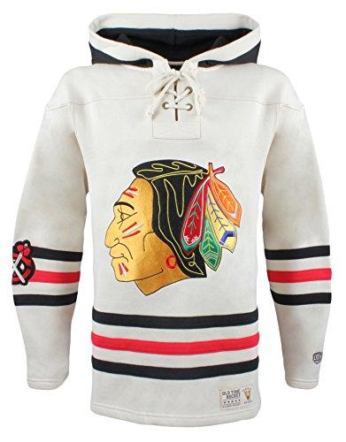 NHL Chicago Blackhawks Men's Vintage Lacer Heavyweight Hoodie, XX-Large, Stone