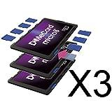 DiMeCard micro8 microSD メモリーカードホルダー― パープル エディション マルチパック, 3個セット (クレジットカード・サイズの超薄型ホルダー、記入可能なラベル)