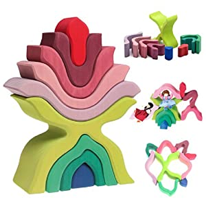 "Grimm's ""Little Flower"" Wooden Puzzle Stacker - Large Elements Nesting/Stacking Sculptural Blocks"