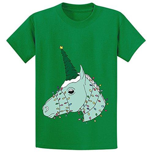 Likeu Christmas Unicorn Kid's Cotton Crew Neck Tee Green (Old School Door Knobs compare prices)