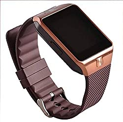 Wearable Smart Watch Phone DZ09 1.56 inch Touch Screen Bluetooth 3.0 Sync Call/SMS/Phonebook Sleep Tracker Sports for Smartphone (BROWN)
