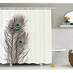 Natural Peacock Tail Feathers with Eyes Home Designers Selection Decorative Item Pearl Ivory Bathroom Art Digital Print Polyester Fabric Shower Curtain White Gray Turquoise