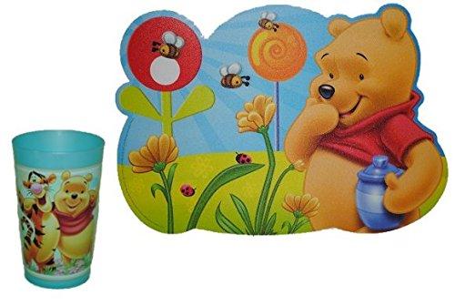 2-tlg-Winnie-the-Pooh-Set-Trinkbecher-Unterlage-Becher-Trinkglas-Glas