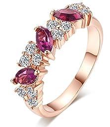buy Jw Collection Elegant 18K Rose Gold Plated Austrian Crystal Bridal Rings