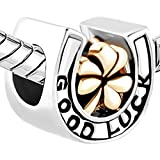 Good Luck Charms Horseshoe Three Leaf Clover Flower Sale Cheap Beads Fit Pandora Bracelets